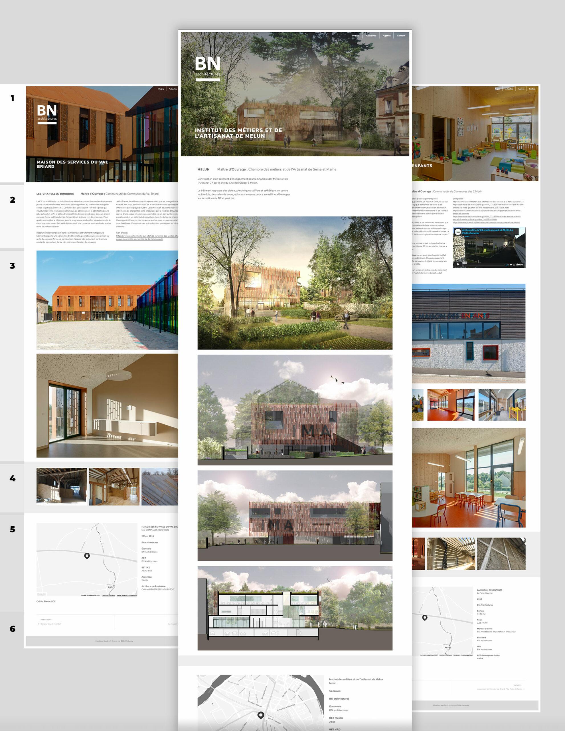 """Structure des pages """"projet"""" facilement adaptable aux besoins de chaque réalisation."""